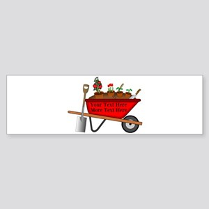 Personalized Red Wheelbarrow Sticker (Bumper)