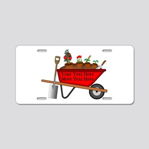 Personalized Red Wheelbarro Aluminum License Plate