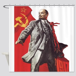 Lenin soviet union propaganda Shower Curtain