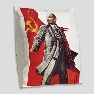Lenin soviet union propaganda Burlap Throw Pillow