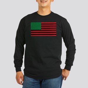 African American Flag - Red Bl Long Sleeve T-Shirt