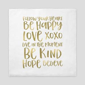 Gold Inspirational Words Queen Duvet