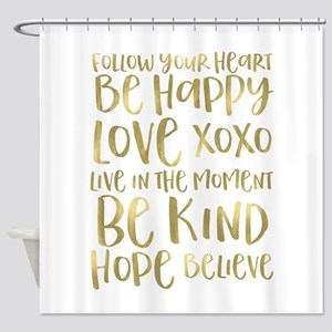 Gold Inspirational Words Shower Curtain