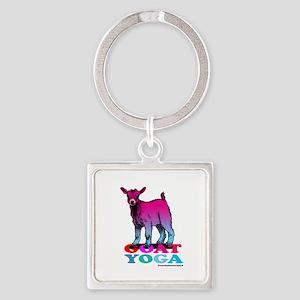 Goat Yoga 2 Square Keychain
