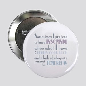 "Funny Insomnia Reading Books Grey 2.25"" Button"