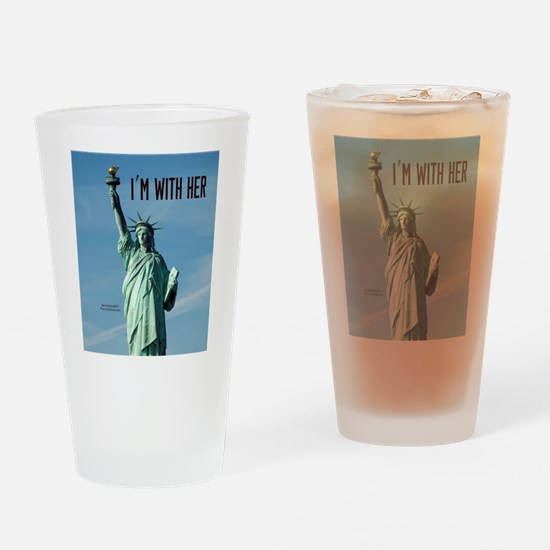 Women's Marches–I'm With Her Lady L Drinking Glass