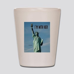 Women's Marches–I'm With Her Lady Liber Shot Glass