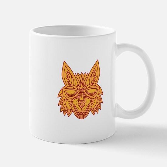Coyote Head Sunglasses Smiling Mono Line Mugs