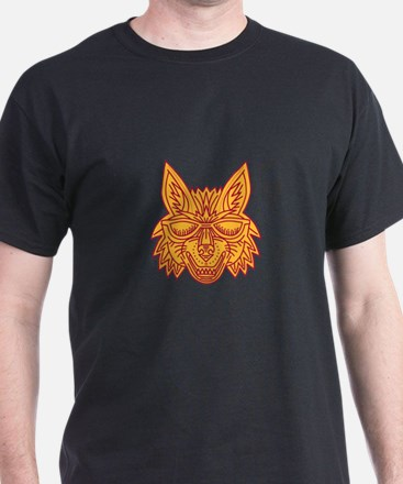 Coyote Head Sunglasses Smiling Mono Line T-Shirt
