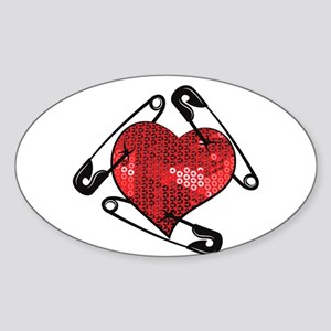 red sequins safety pin Sticker