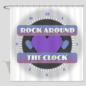 Rock Around the Clock Shower Curtain