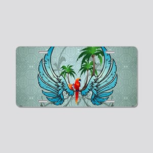 Cute parrot with wings and palm Aluminum License P