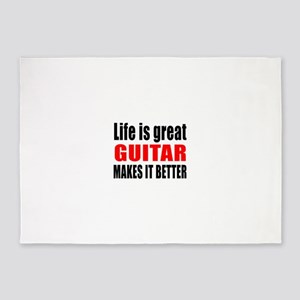 Life Is Great Guitar Makes It Bette 5'x7'Area Rug