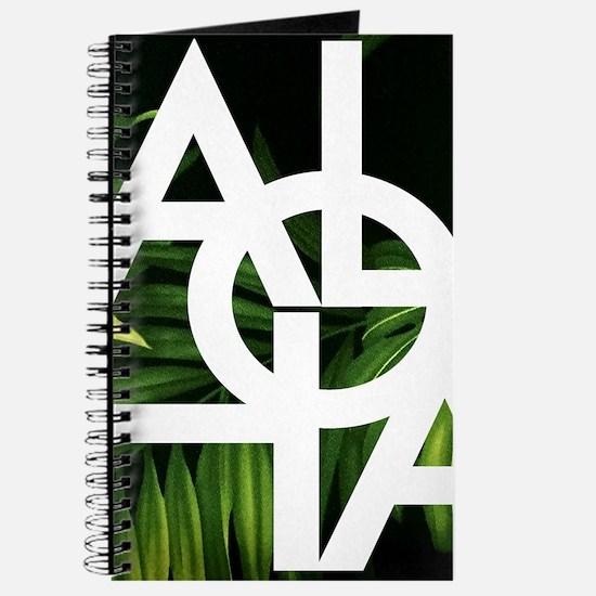 Aloha Whitre Graphic Palm Print Journal