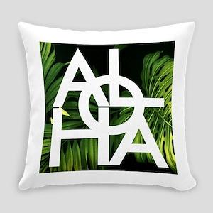 Aloha Whitre Graphic Palm Print Everyday Pillow