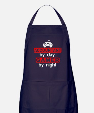 ACCOUNTANT BY DAY GAMER BY NIGHT Apron (dark)