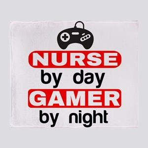 NURSE BY DAY GAMER BY NIGHT Throw Blanket