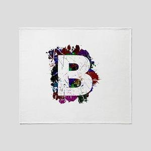 B (Ink Spots) (Black) Throw Blanket