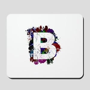 B (Ink Spots) (Black) Mousepad