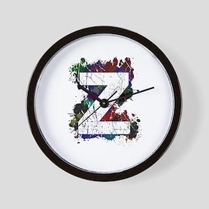 Z (Ink Spots) (Black) Wall Clock