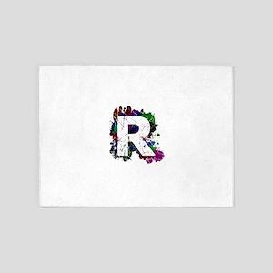 R (Ink Spots) (Black) 5'x7'Area Rug