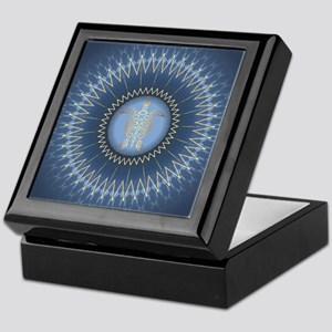 Gold Turtle Dark Blue Mandala Keepsake Box