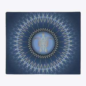 Gold Turtle Dark Blue Mandala Throw Blanket