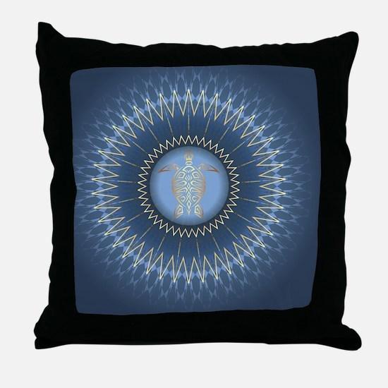 Gold Turtle Dark Blue Mandala Throw Pillow