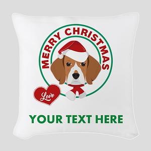 Custom Beagle Christmas Woven Throw Pillow
