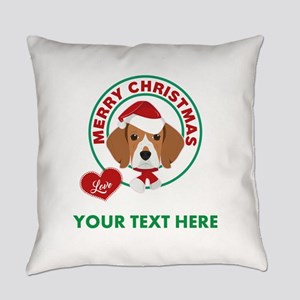 Custom Beagle Christmas Everyday Pillow
