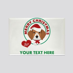 Custom Beagle Christmas Rectangle Magnet
