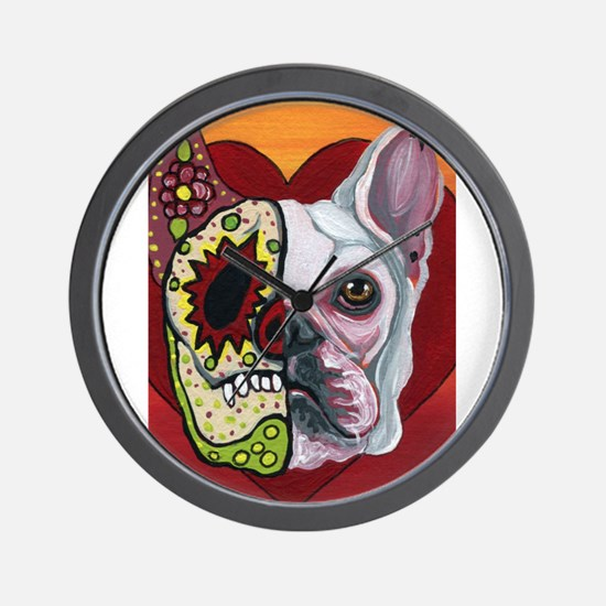 Sugar Skull White Frenchie Wall Clock