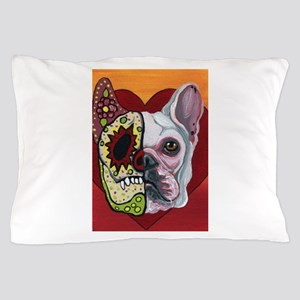 Sugar Skull White Frenchie Pillow Case