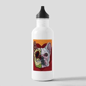 Sugar Skull White Frenchie Water Bottle