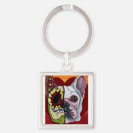 Sugar Skull White Frenchie Keychains