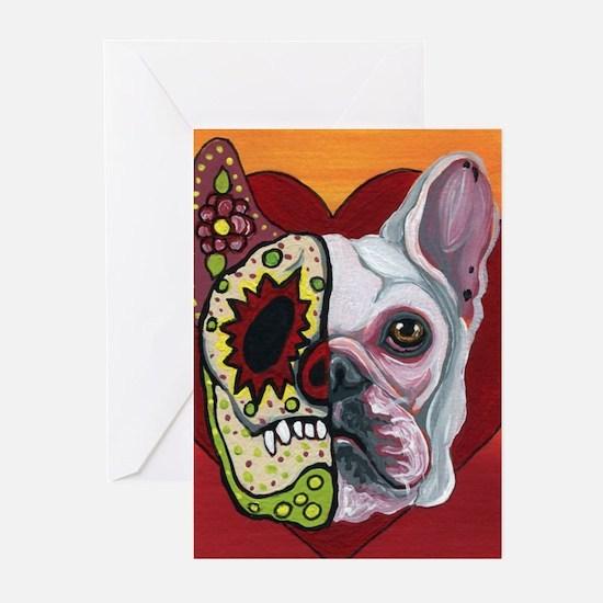Sugar Skull White Frenchie Greeting Cards