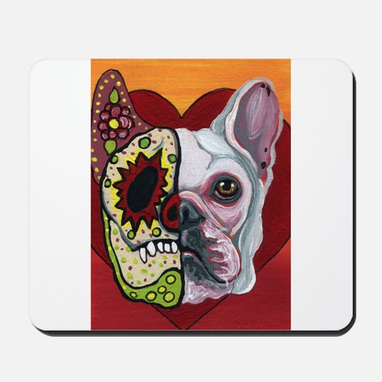 Sugar Skull White Frenchie Mousepad