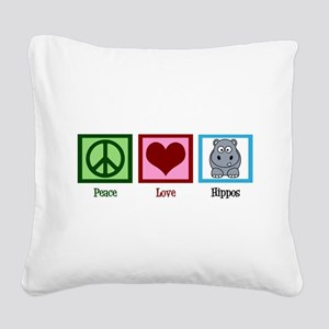 Peace Love Hippos Square Canvas Pillow