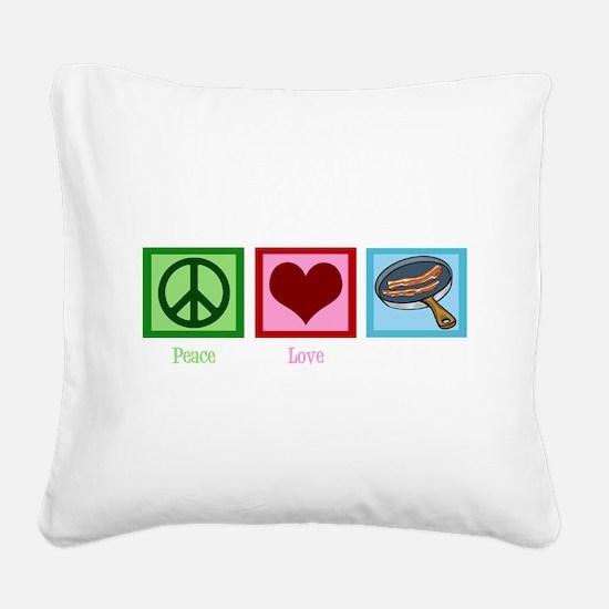 Cute Bacon strip Square Canvas Pillow