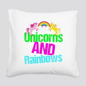 Unicorns Rainbow Cute Square Canvas Pillow