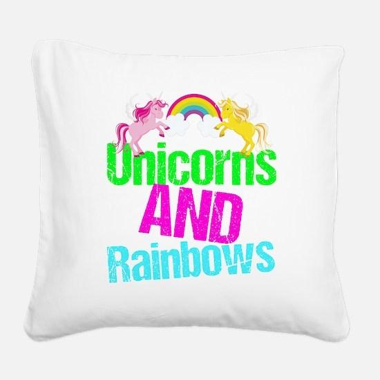 Unicorns Rainbow Cute Square Canvas Pillow
