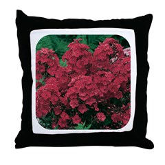 Phlox Dark Red Throw Pillow