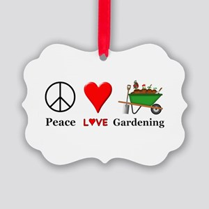 Peace Love Gardening Picture Ornament