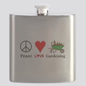 Peace Love Gardening Flask