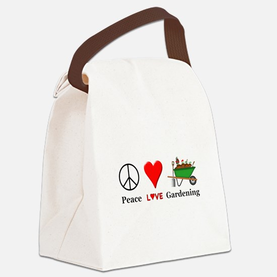 Peace Love Gardening Canvas Lunch Bag