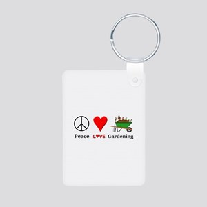 Peace Love Gardening Aluminum Photo Keychain