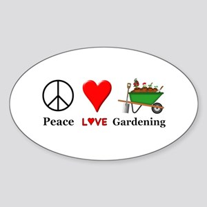 Peace Love Gardening Sticker (Oval)