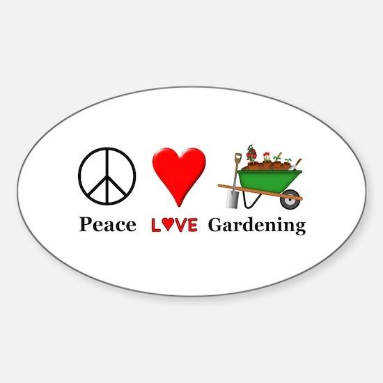 Peace Love Gardening Sticker (Oval)