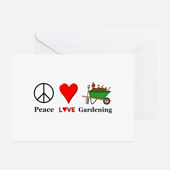 Peace Love Gardening Greeting Card