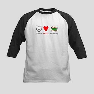 Peace Love Gardening Kids Baseball Jersey